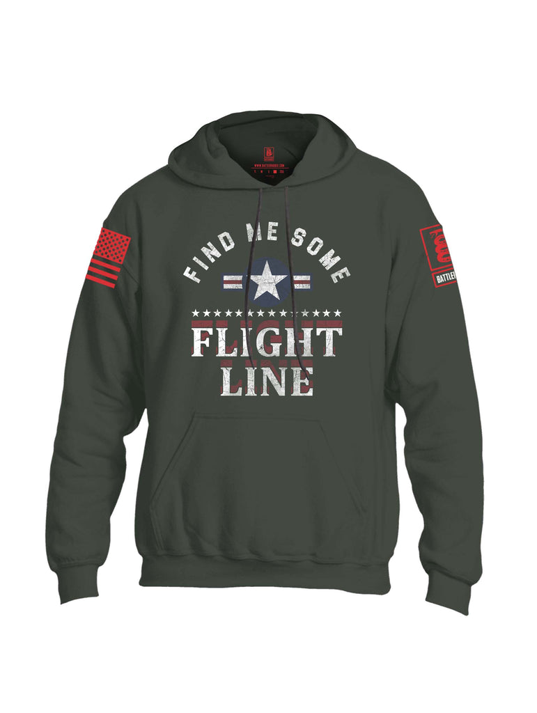 Battleraddle Find Me Some Flight Line Red Sleeve Print Mens Blended Hoodie With Pockets