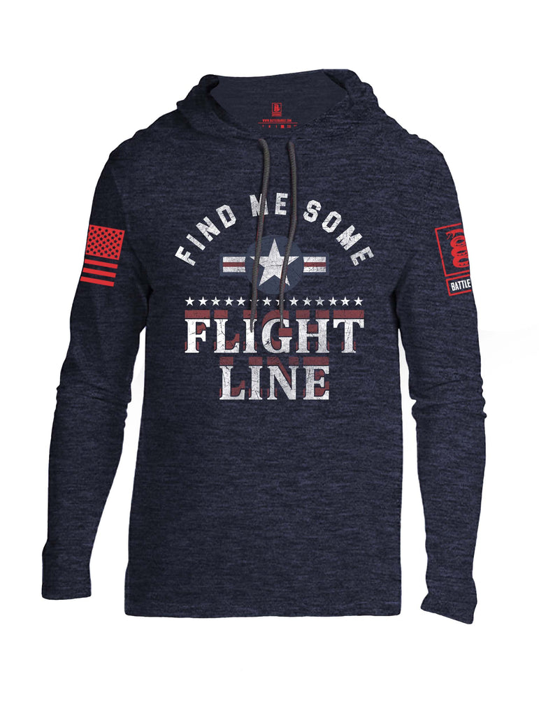 Battleraddle Find Me Some Flight Line Red Sleeve Print Mens Thin Cotton Lightweight Hoodie