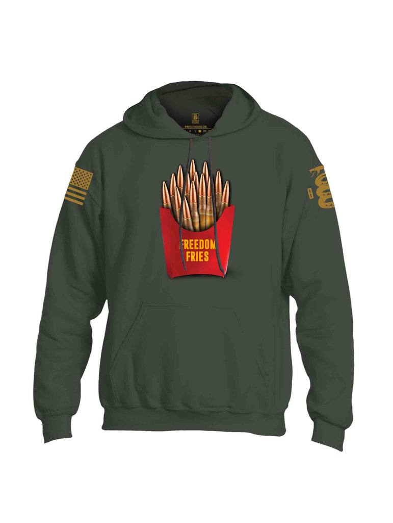 Battleraddle Freedom Fries Brass Sleeve Print Mens Blended Hoodie With Pockets