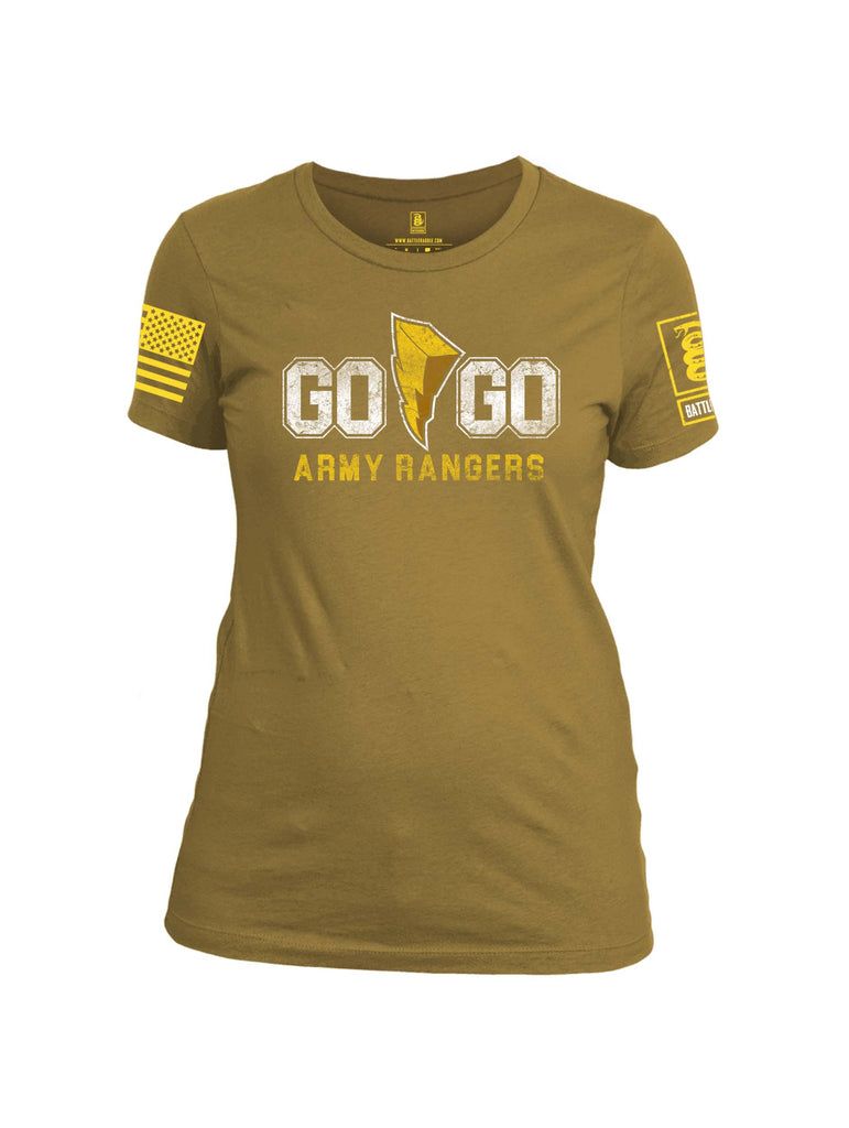Battleraddle Go Go Army Rangers Yellow Sleeve Print Womens Cotton Crew Neck T Shirt
