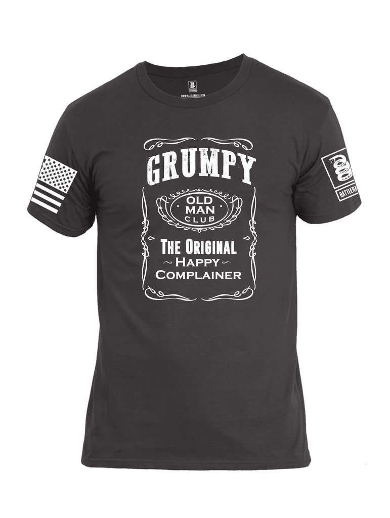 Battleraddle Grumpy Old Man Club The Original Happy Complainer White Sleeve Print Mens Cotton Crew Neck T Shirt