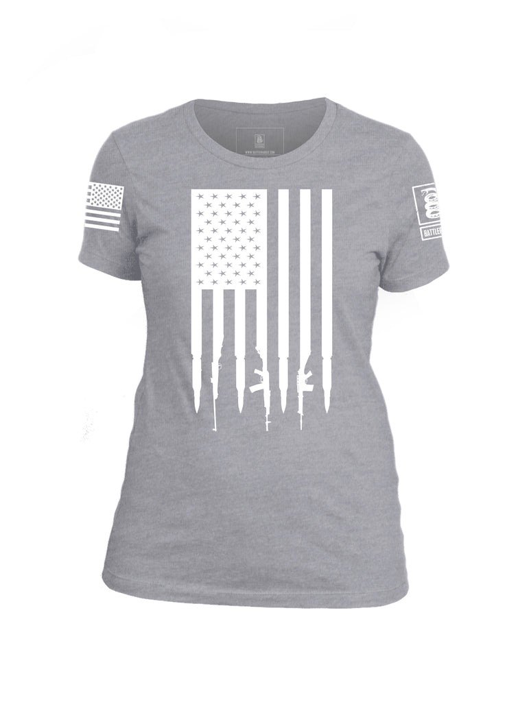 Battleraddle Gun And Bullet Flag Regular Stars V2 Womens Cotton Crew Neck T Shirt