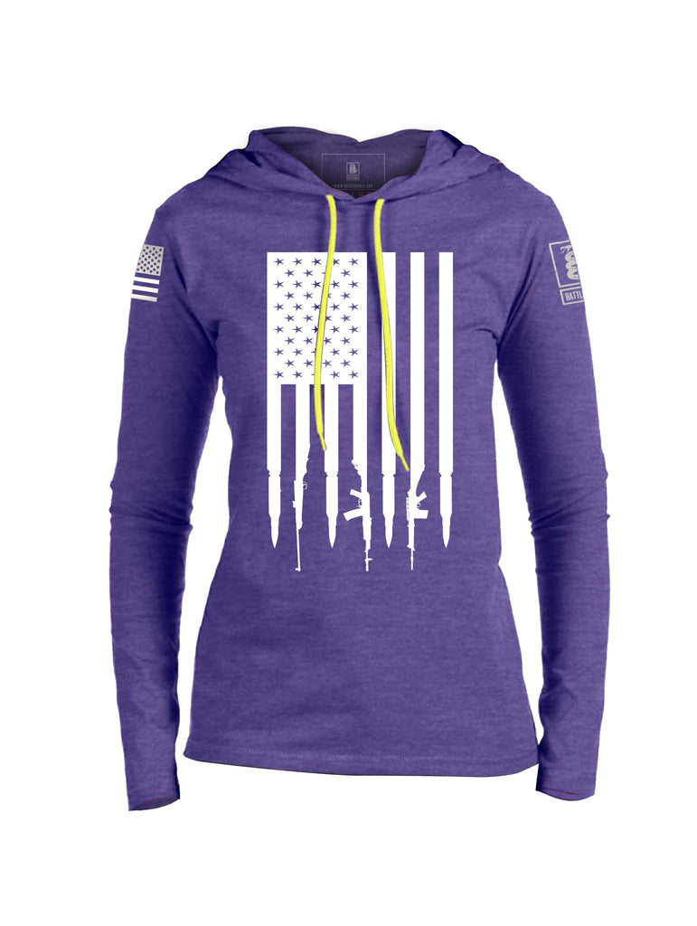 Battleraddle Gun And Bullet Flag Regular Stars V2 Womens Thin Cotton Lightweight Hoodie