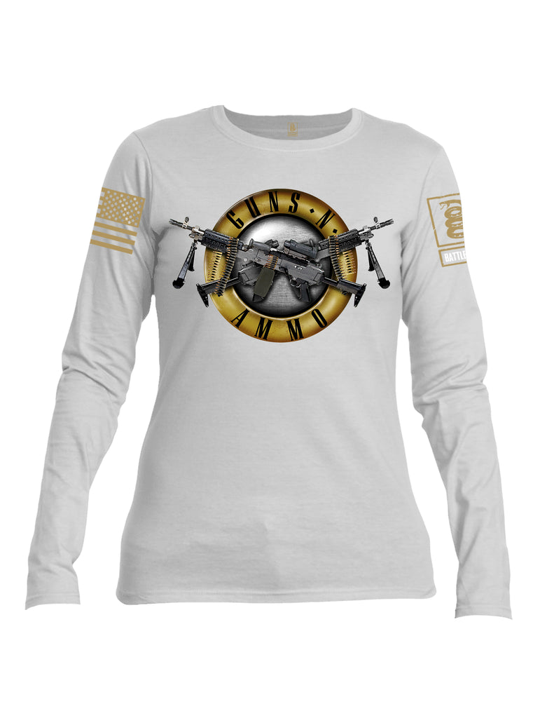 Battleraddle Guns N Ammo Brass Sleeve Print Womens Cotton Long Sleeve Crew Neck T Shirt