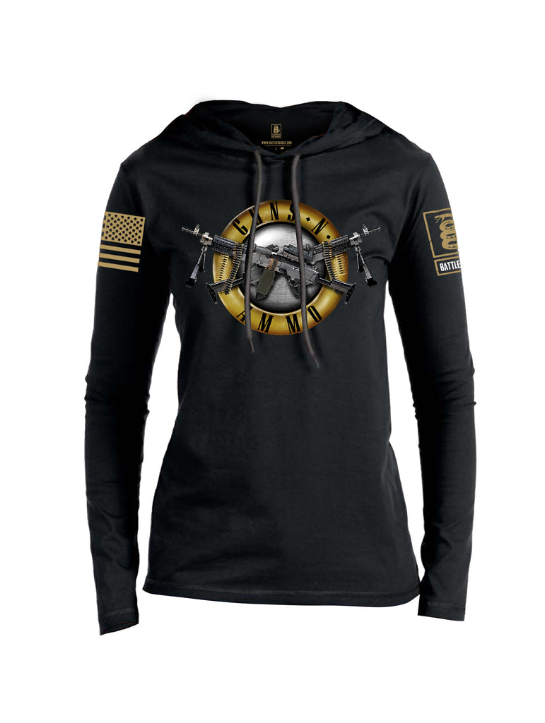 Battleraddle Guns N Ammo Brass Sleeve Print Womens Thin Cotton Lightweight Hoodie