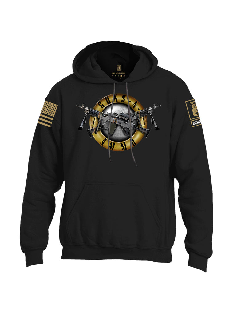 Battleraddle Guns N Ammo Brass Sleeve Print Mens Blended Hoodie With Pockets