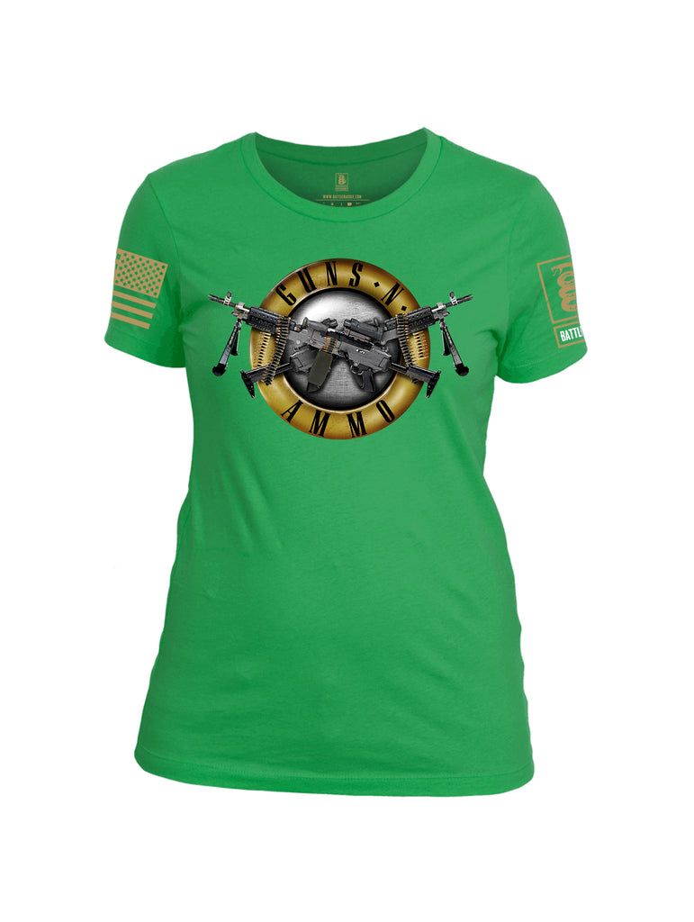 Battleraddle Guns N Ammo Brass Sleeve Print Womens Cotton Crew Neck T Shirt