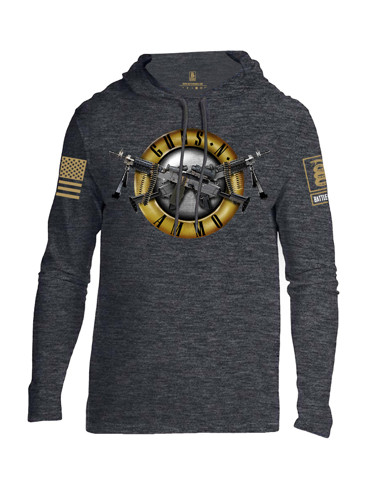 Battleraddle Guns N Ammo Brass Sleeve Print Mens Thin Cotton Lightweight Hoodie