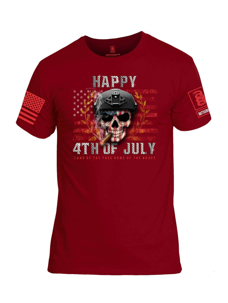 Battleraddle Happy 4th Of July Land Of The Free Home Of The Brave Red Sleeve Print Mens Cotton Crew Neck T Shirt shirt|custom|veterans|Apparel-Mens T Shirt-cotton