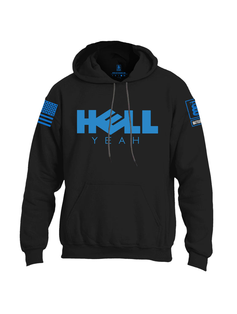 Battleraddle Hell Yeah Blue Sleeve Print Mens Blended Hoodie With Pockets