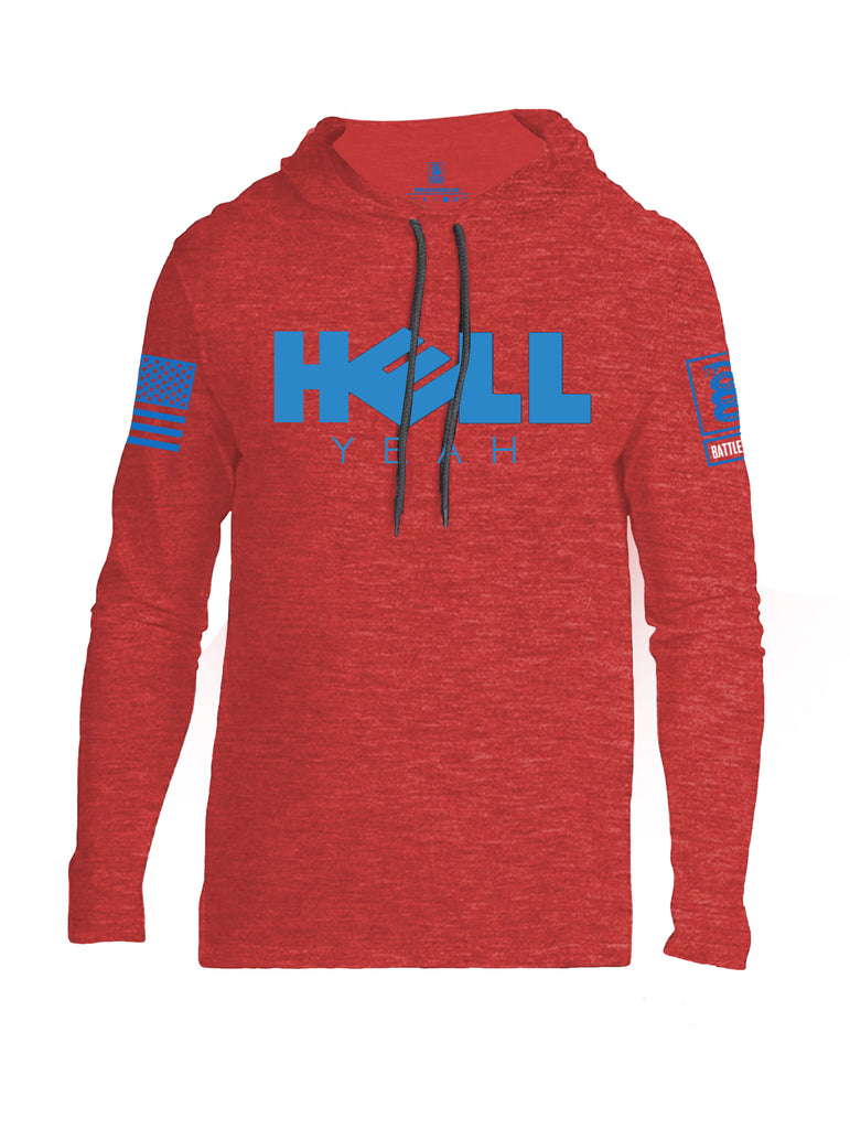 Battleraddle Hell Yeah Blue Sleeve Print Mens Thin Cotton Lightweight Hoodie