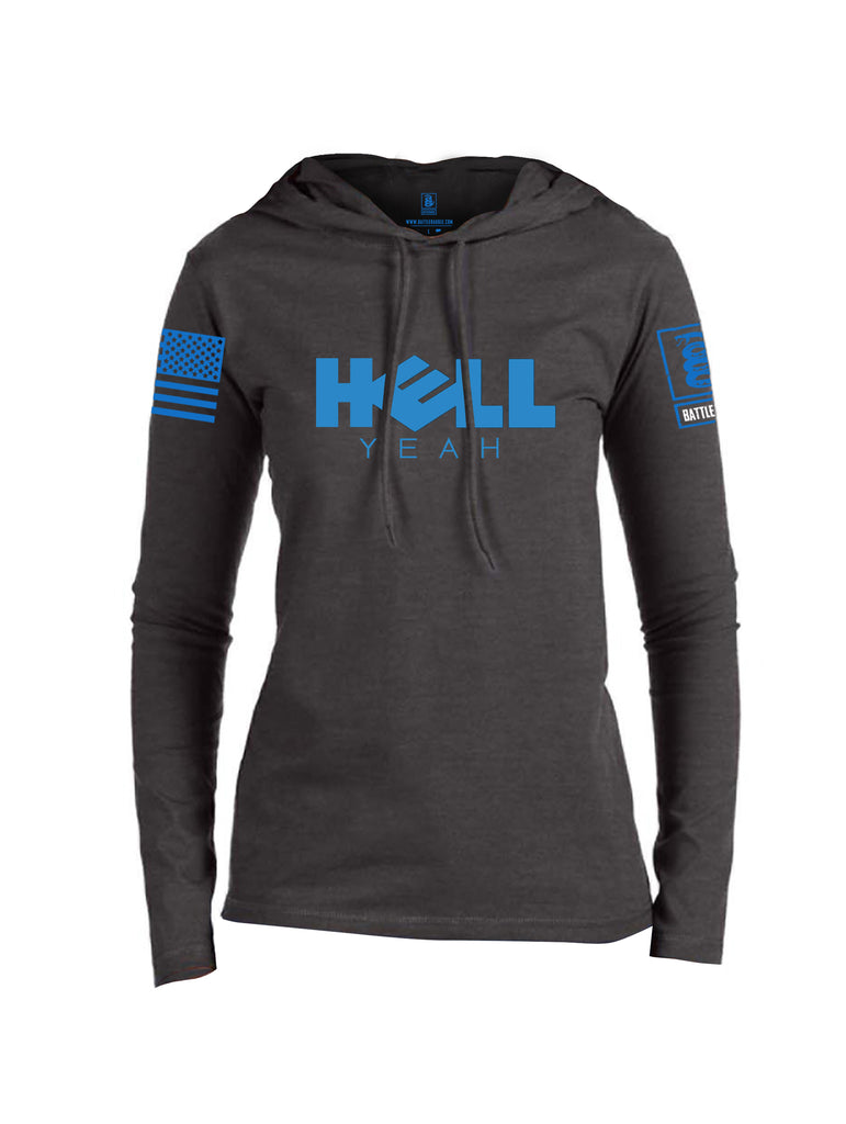 Battleraddle Hell Yeah Blue Sleeve Print Womens Thin Cotton Lightweight Hoodie