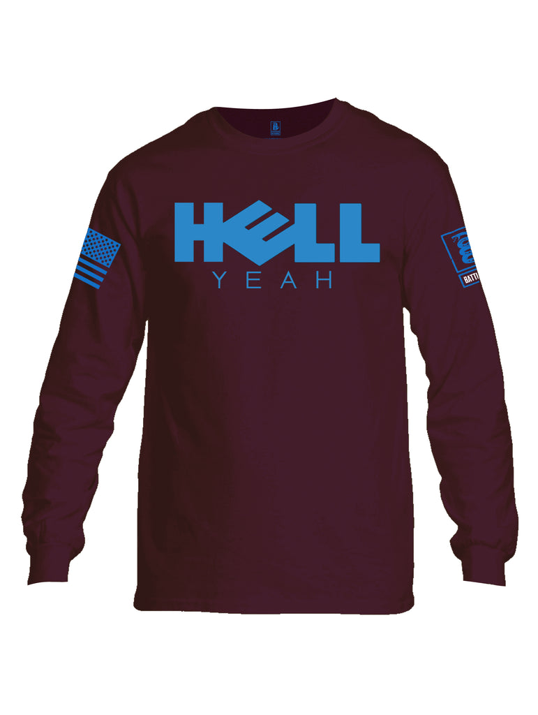 Battleraddle Hell Yeah Blue Sleeve Print Mens Cotton Long Sleeve Crew Neck T Shirt