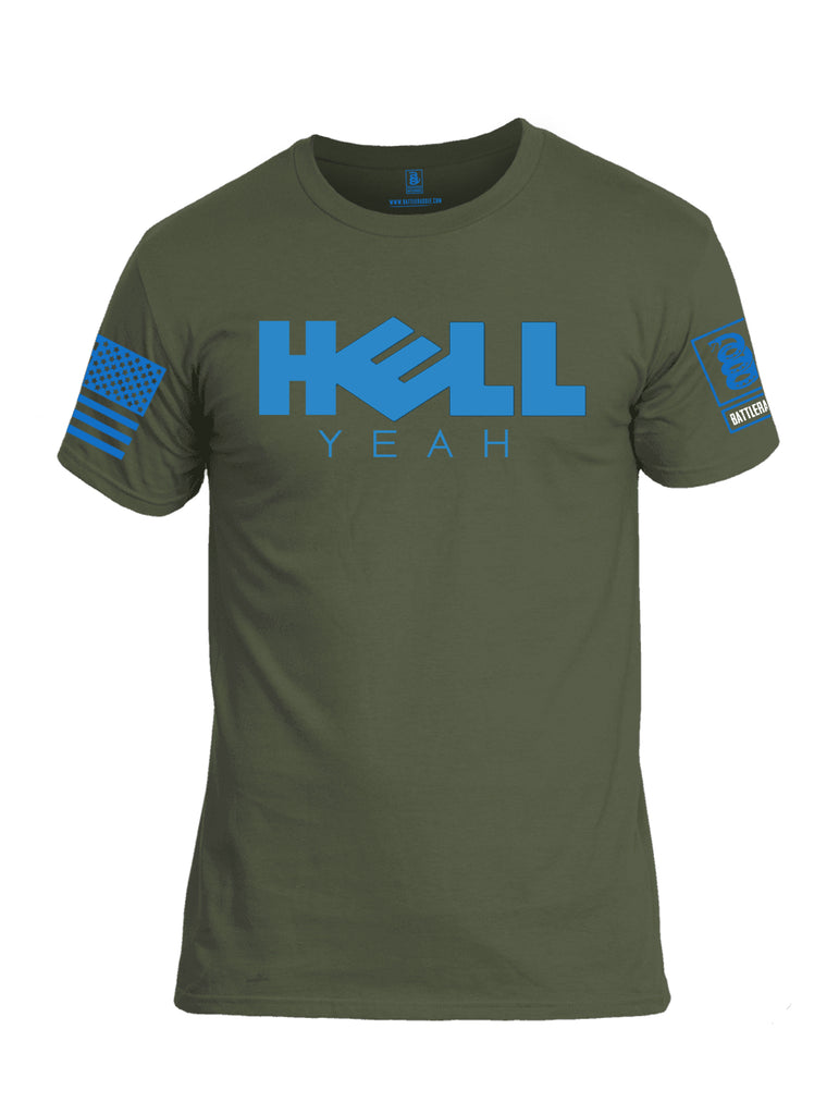 Battleraddle Hell Yeah Blue Sleeve Print Mens Cotton Crew Neck T Shirt