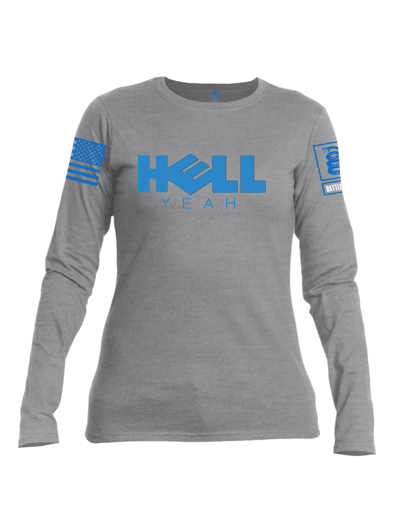 Battleraddle Hell Yeah Blue Sleeve Print Womens Cotton Long Sleeve Crew Neck T Shirt