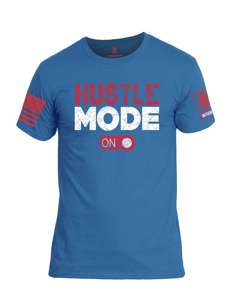 Battleraddle Hustle Mode On Red Sleeve Print Mens Cotton Crew Neck T Shirt