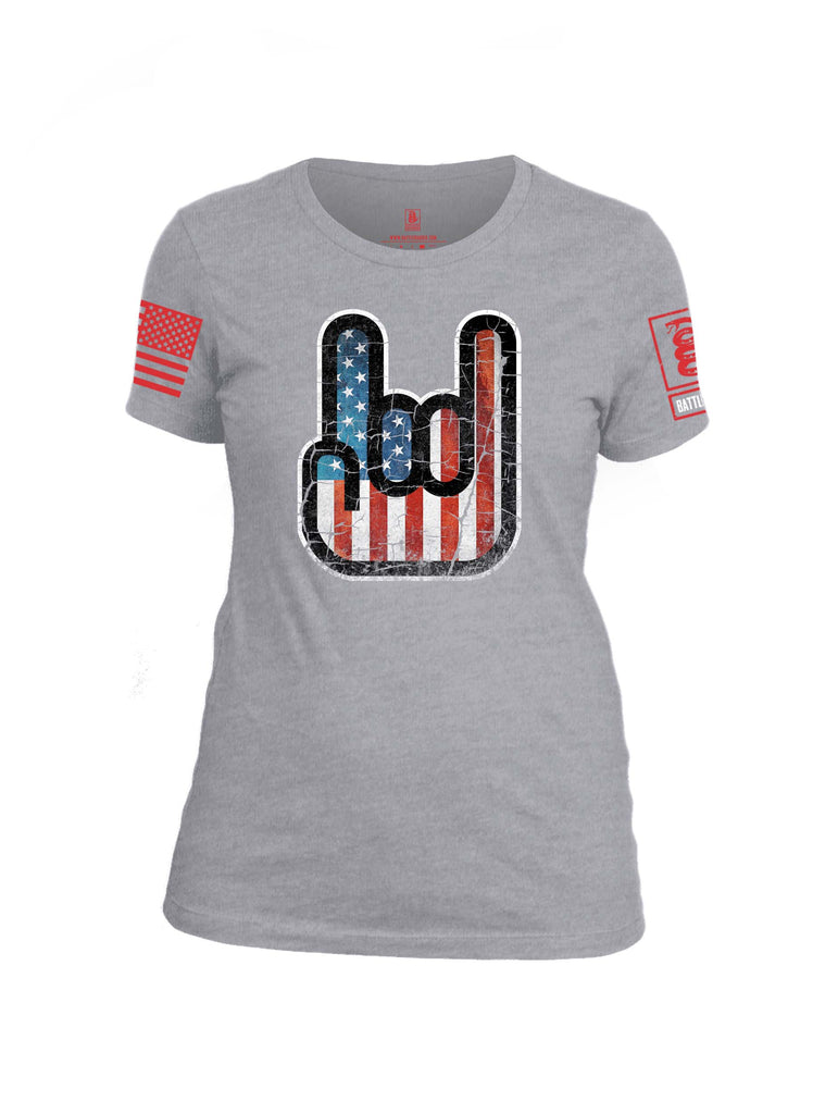 Battleraddle Hand Gesture USA Flag Red Sleeve Print Womens Cotton Crew Neck T Shirt