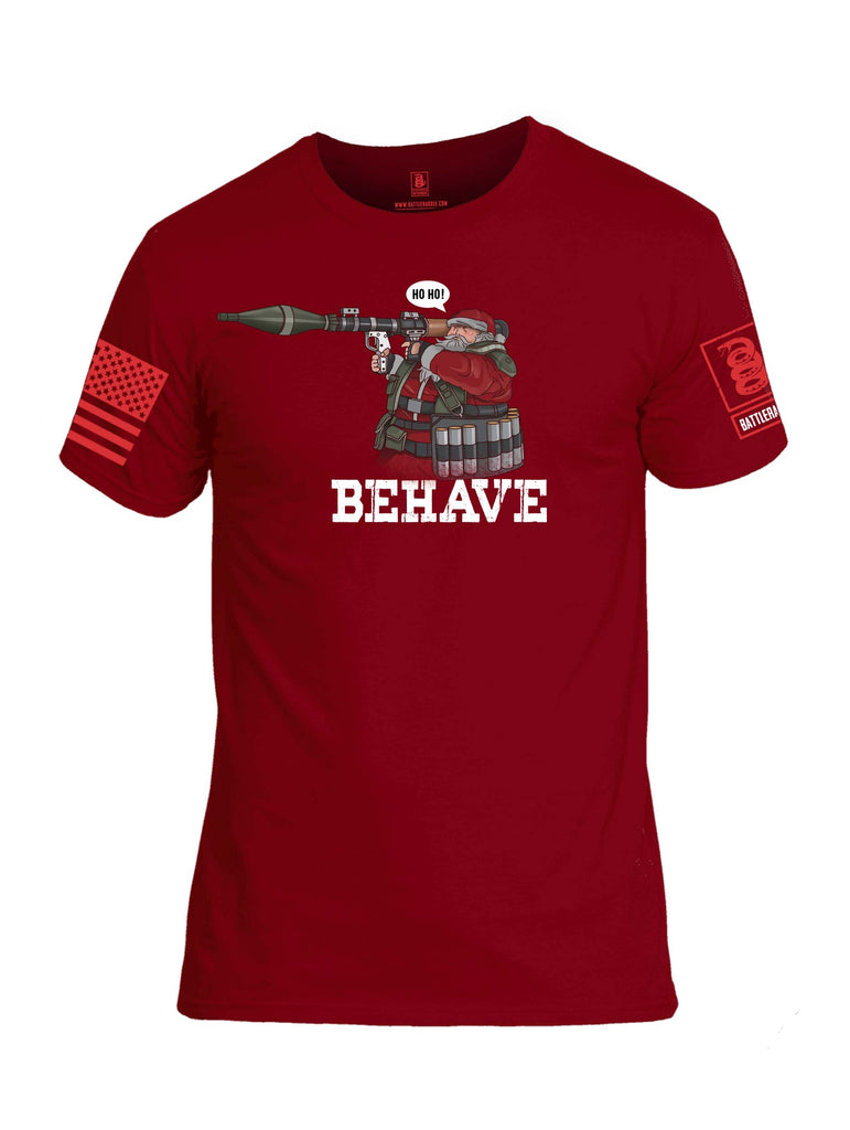 Battleraddle Ho Ho Santa Behave Christmas Holiday Ugly Red Sleeve Print Mens Cotton Crew Neck T Shirt