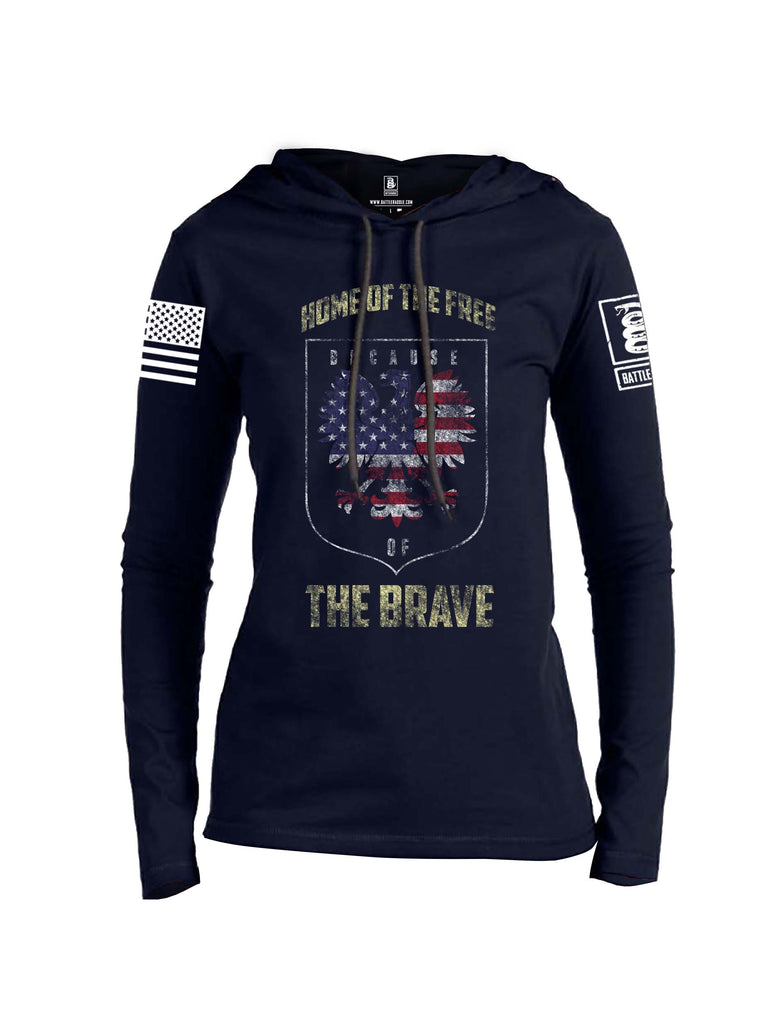 Battleraddle Home Of The Free Because Of The Brave White Sleeve Print Womens Thin Cotton Lightweight Hoodie