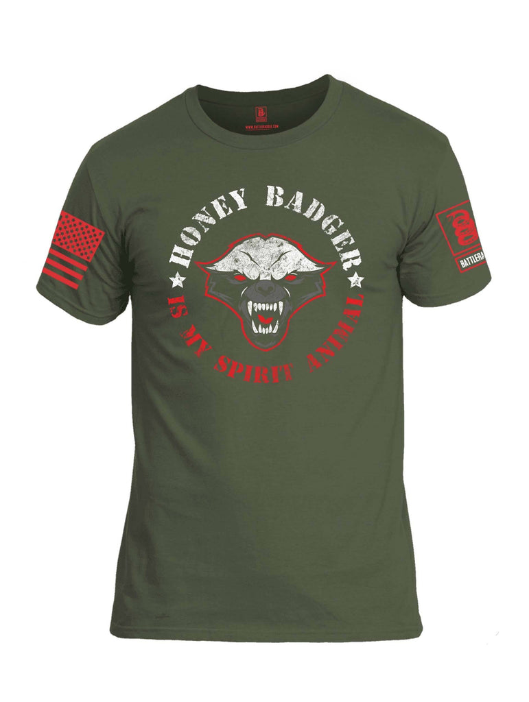 Battleraddle Honey Badger Is My Spirit Animal Red Sleeve Print Mens Cotton Crew Neck T Shirt shirt|custom|veterans|Apparel-Mens T Shirt-cotton