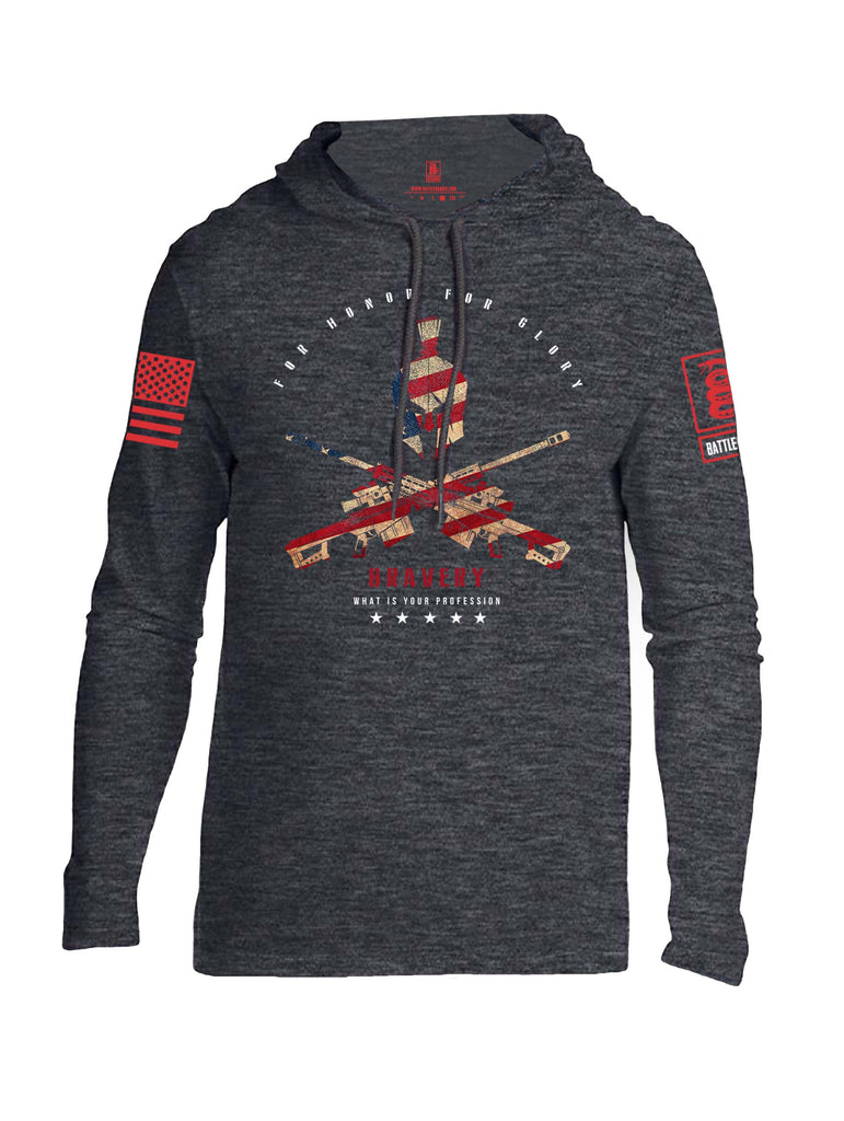 Battleraddle For Honor For Glory Bravery What Is Your Profession Red Sleeve Print Mens Thin Cotton Lightweight Hoodie