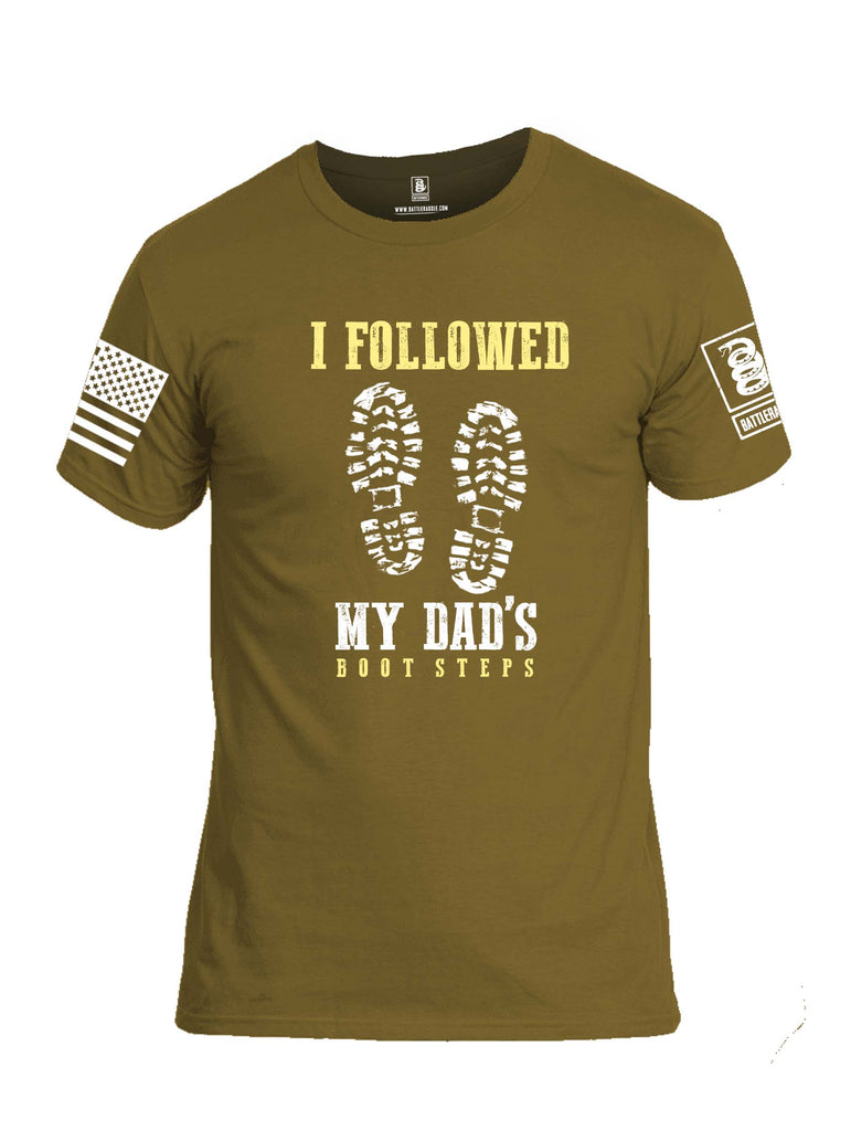 Battleraddle I Followed My Dads Bootsteps White Sleeve Print Mens Cotton Crew Neck T Shirt