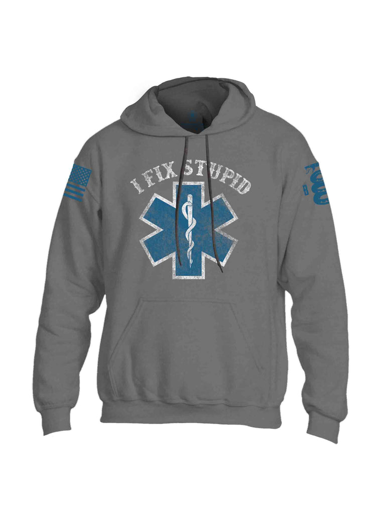 Battleraddle I Fix Stupid Blue Sleeve Print Mens Blended Hoodie With Pockets