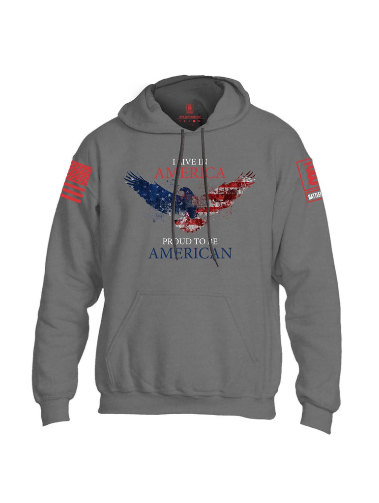 Battleraddle I Live In America Proud To Be American Red Sleeve Print Mens Blended Hoodie With Pockets shirt|custom|veterans|Apparel-Mens Hoodies-Cotton/Dryfit Blend