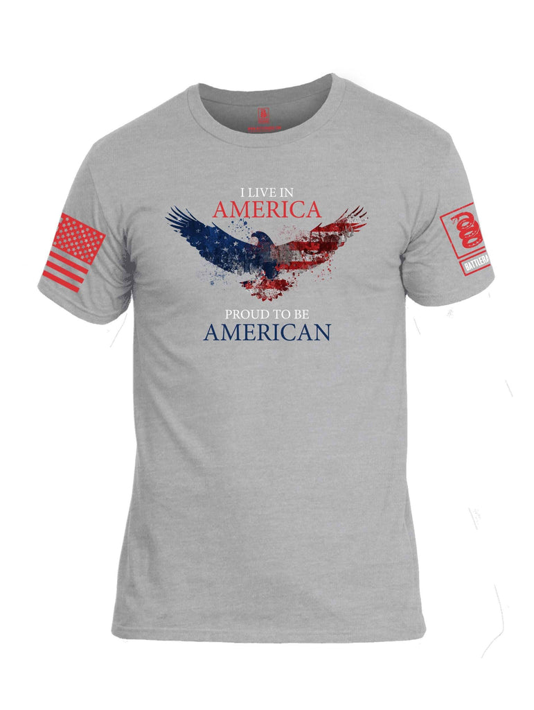 Battleraddle I Live In America Proud To Be American Red Sleeve Print Mens Cotton Crew Neck T Shirt shirt|custom|veterans|Apparel-Mens T Shirt-cotton