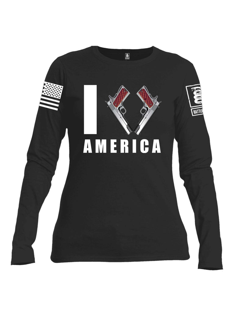 Battleraddle I Love America White Sleeve Print Womens Cotton Long Sleeve Crew Neck T Shirt