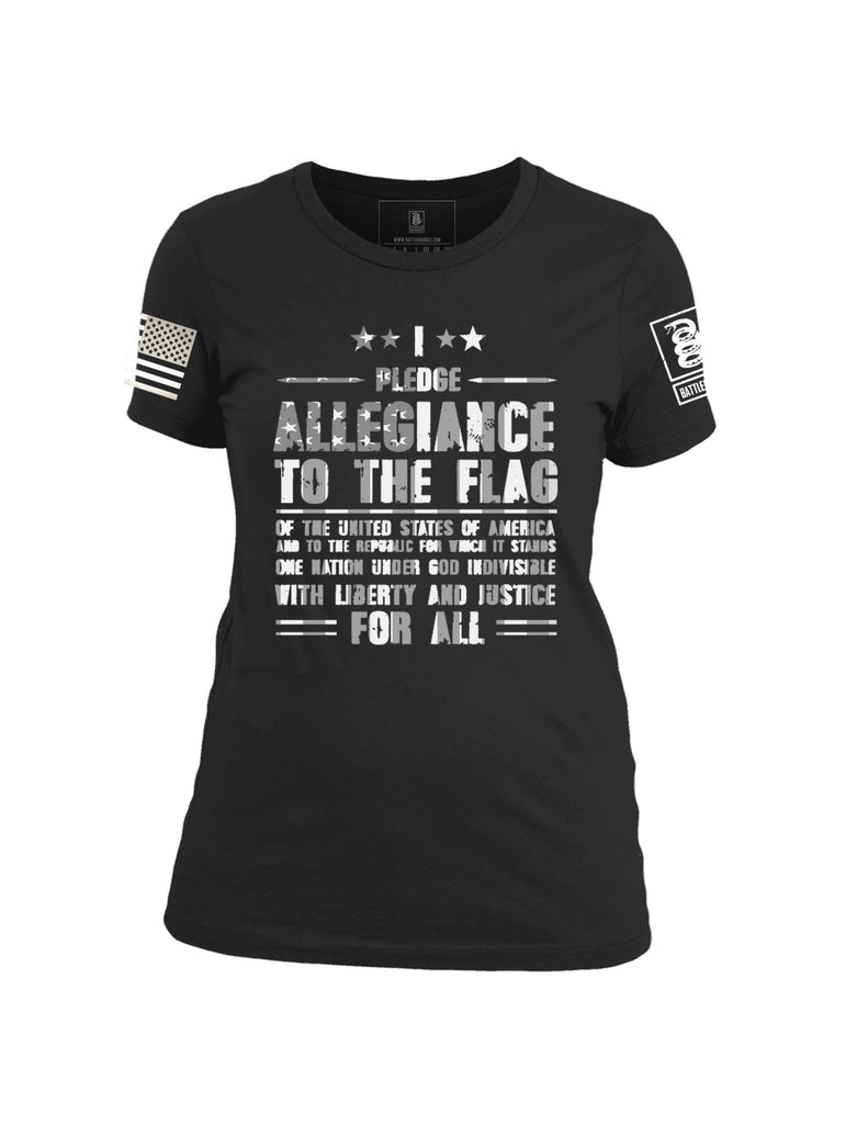 Battleraddle I Pledge Allegiance To The Flag Of The United States Of America White Sleeve Print Womens Cotton Crew Neck T Shirt