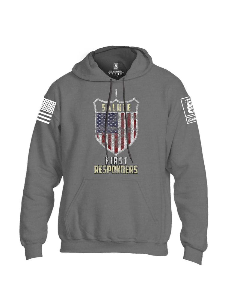 Battleraddle I Salute First Responders White Sleeve Print Mens Blended Hoodie With Pockets