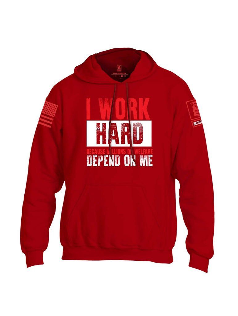 Battleraddle I Work Hard Because Millions On Welfare Depend On Me Red Sleeve Print Mens Blended Hoodie With Pockets shirt|custom|veterans|Apparel-Mens Hoodies-Cotton/Dryfit Blend