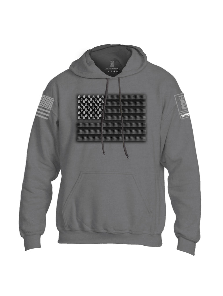 Battleraddle Intimidator .50 Cal Freedom Flag Grey Sleeve Print Mens Blended Hoodie With Pockets