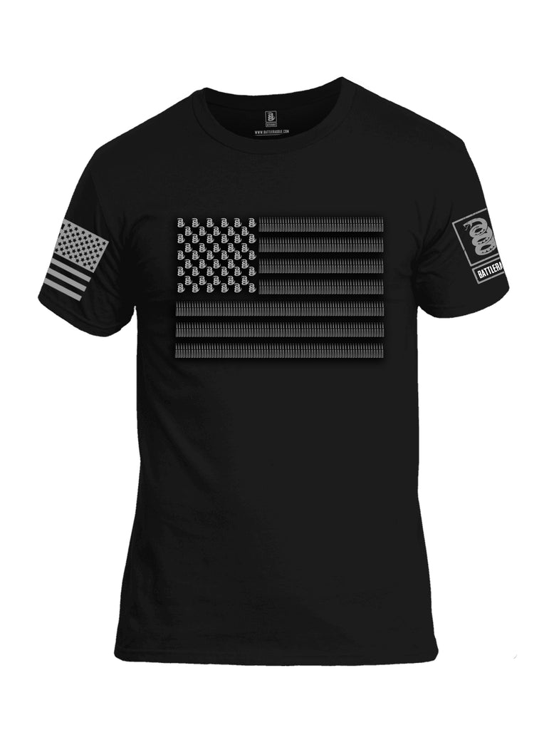Battleraddle Intimidator .50 Cal Freedom Flag Grey Sleeve Print Mens Cotton Crew Neck T Shirt