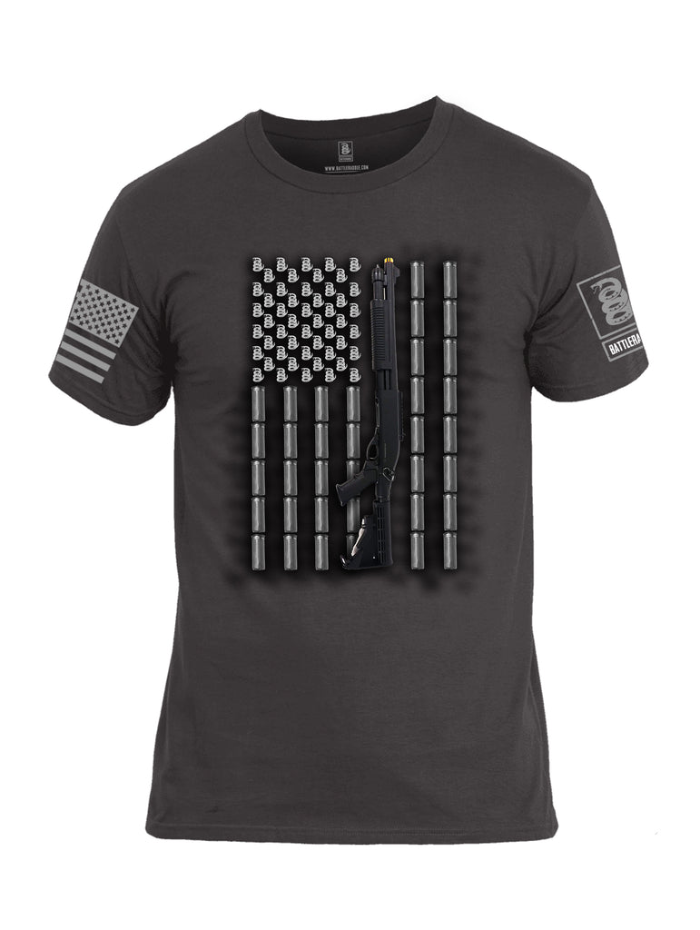 Battleraddle Intimidator Shotgun Freedom Flag Grey Sleeve Print Mens Cotton Crew Neck T Shirt