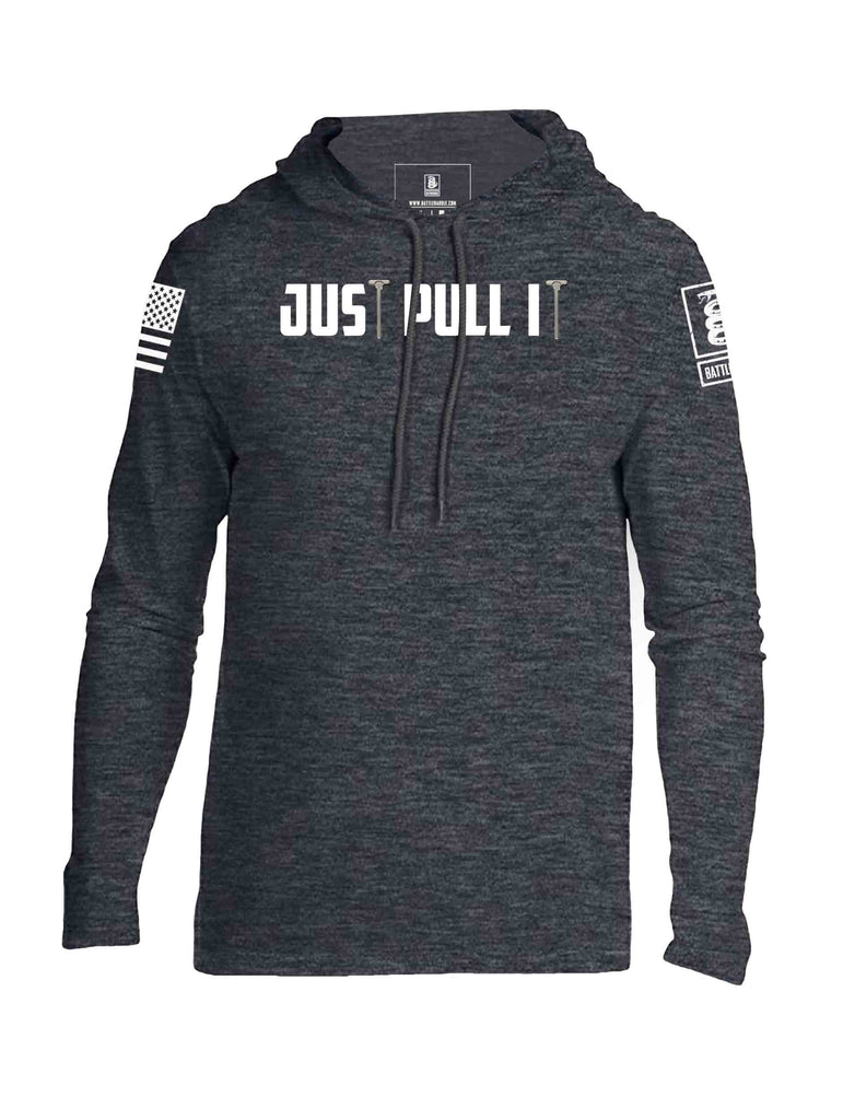 Battleraddle Just Pull It White Sleeve Print Mens Thin Cotton Lightweight Hoodie