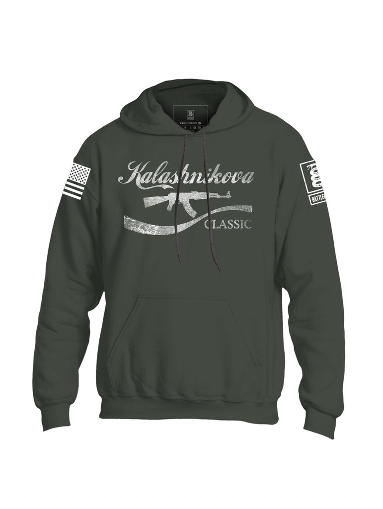 Battleraddle Kalashnikova Rifle Classic White Sleeve Print Mens Blended Hoodie With Pockets