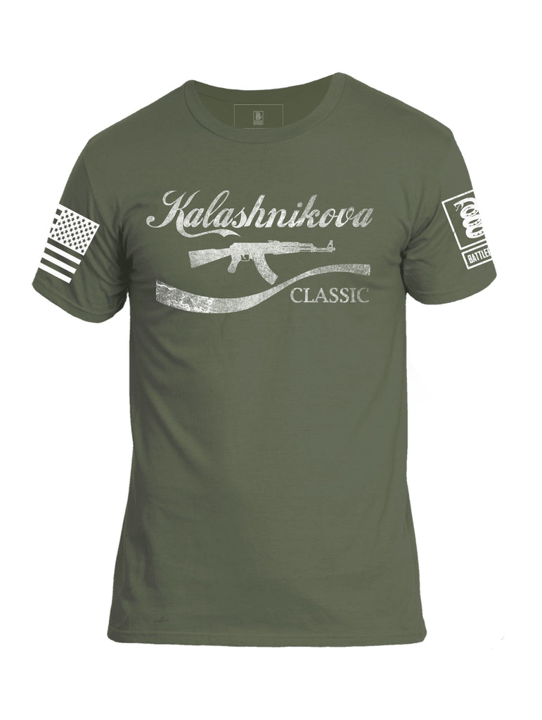 Battleraddle Kalashnikova Rifle Classic White Sleeve Print Mens Cotton Crew Neck T Shirt