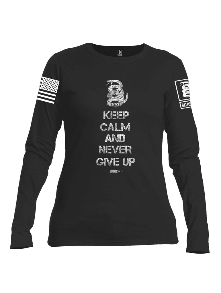 Battleraddle Keep Calm And Never Give Up White Sleeve Print Womens Cotton Long Sleeve Crew Neck T Shirt