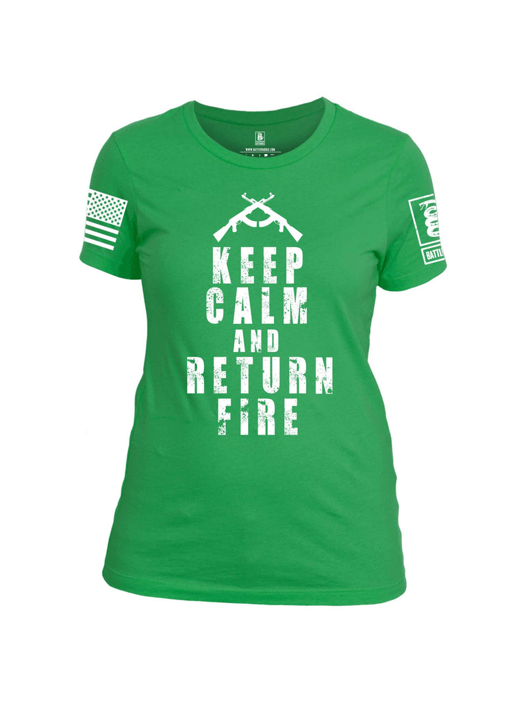 Battleraddle Keep Calm And Return Fire White Sleeve Print Womens Cotton Crew Neck T Shirt