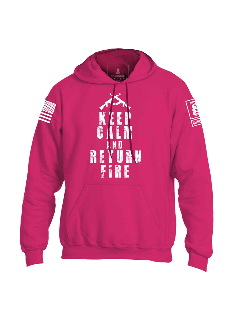Battleraddle Keep Calm And Return Fire White Sleeve Print Mens Blended Hoodie With Pockets