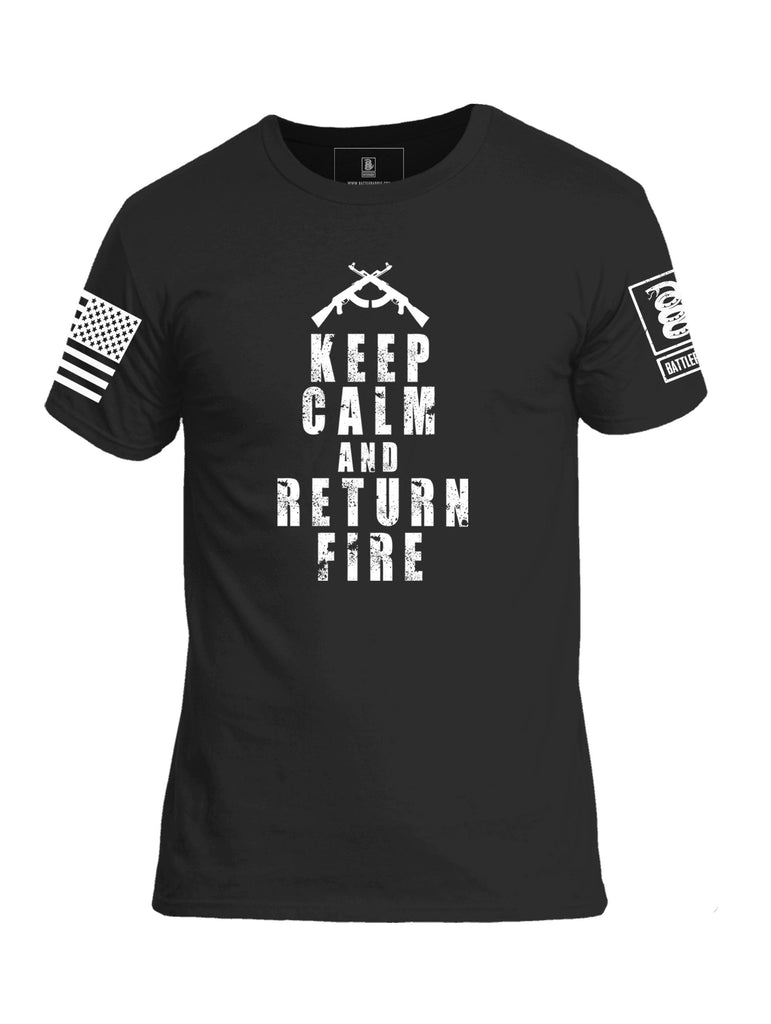 Battleraddle Keep Calm And Return Fire White Sleeve Print Mens Cotton Crew Neck T Shirt