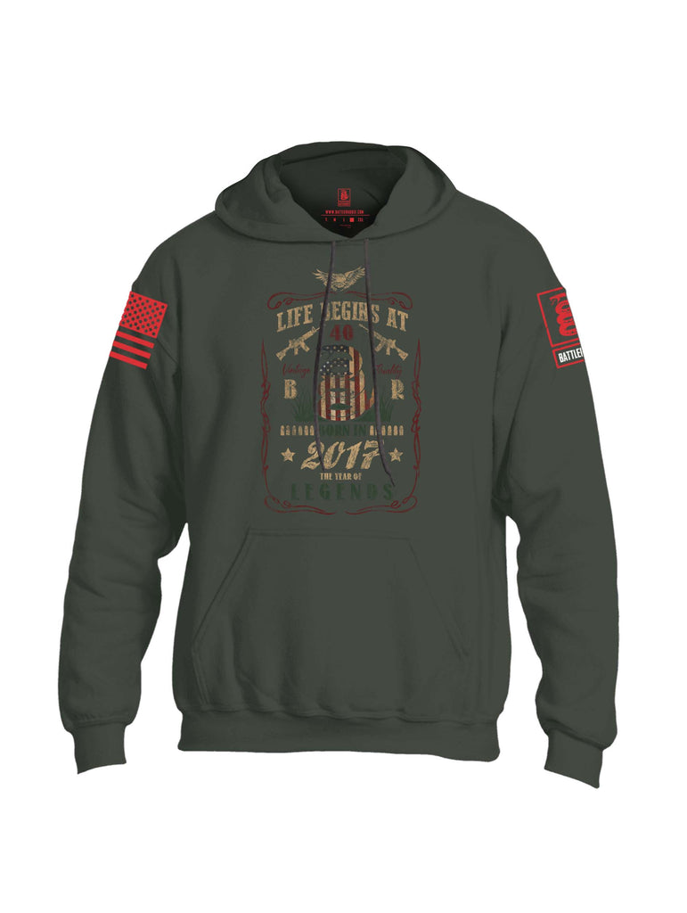 Battleraddle Life Begins At 40 Born In 2017 The Year Of Legends Red Sleeve Print Mens Blended Hoodie With Pockets