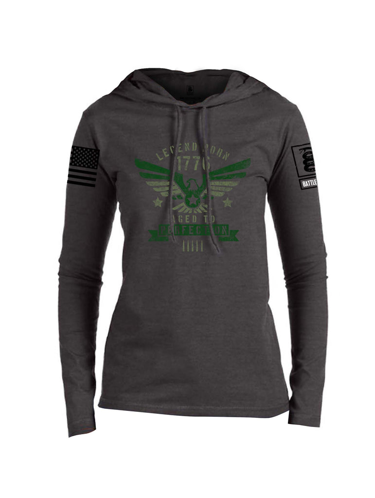 Battleraddle Legend Born 1776 Aged To Perfection Black Sleeve Print Womens Thin Cotton Lightweight Hoodie
