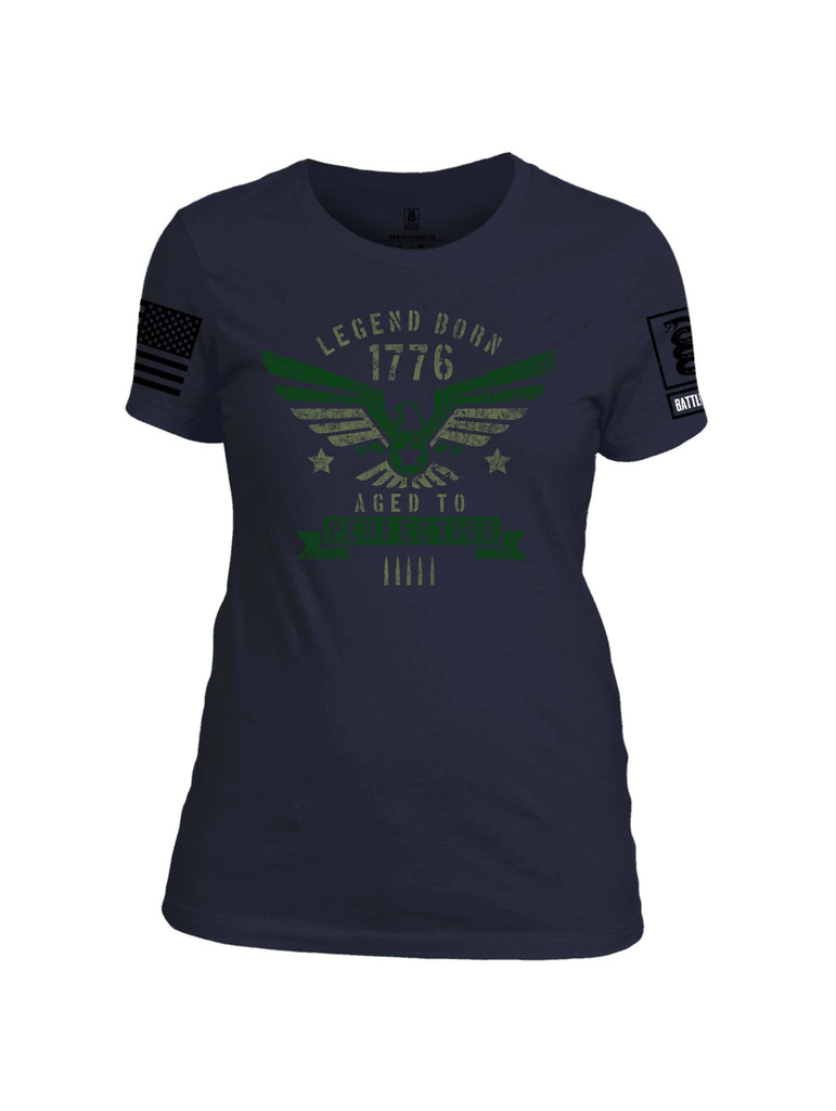 Battleraddle Legend Born 1776 Aged To Perfection Black Sleeve Print Womens 100% Battlefit Polyester Crew Neck T Shirt