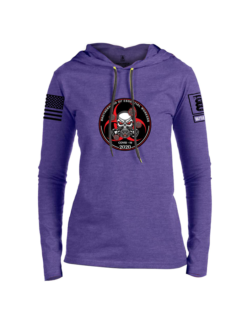 Battleraddle Brotherhood Biohazard Essential Workers COVID 19 2020 Black Sleeve Print Womens Thin Cotton Lightweight Hoodie