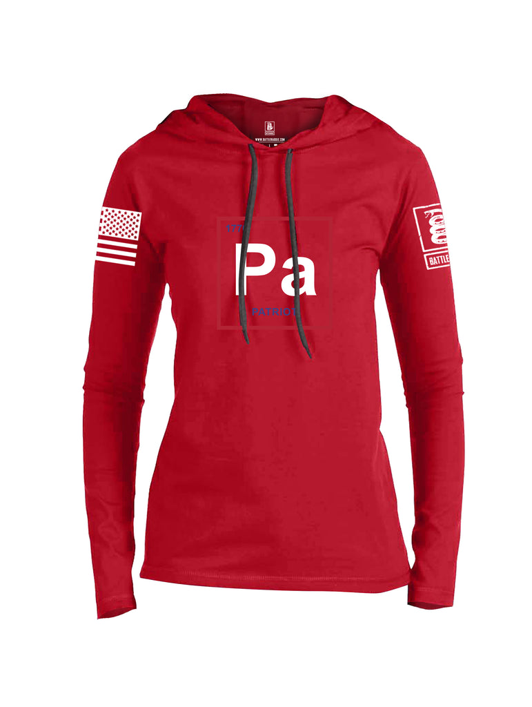 Battleraddle Periodic Table PA 1776 Patriotic White Sleeve Print Womens Thin Cotton Lightweight Hoodie