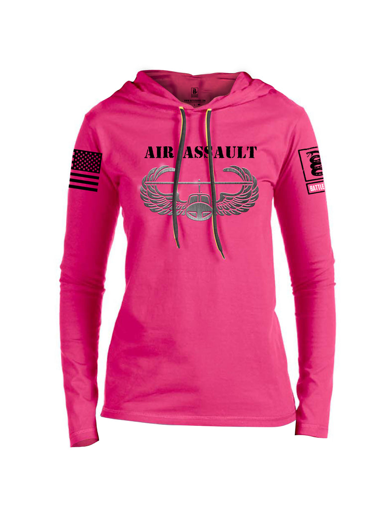 Battleraddle Air Assault Black Sleeve Print Womens Thin Cotton Lightweight Hoodie