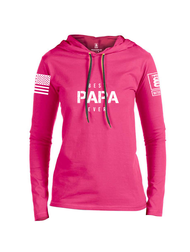 Battleraddle Best PAPA Ever White Sleeve Print Womens Thin Cotton Lightweight Hoodie